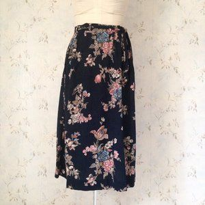 Vintage Floral Midi Skirt with Tie Belt